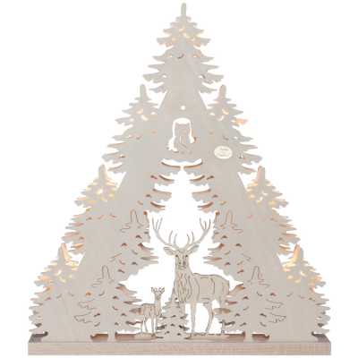 Original Erzgebirge Weihnachtsleuchter Rehe und Hirsch im Wald