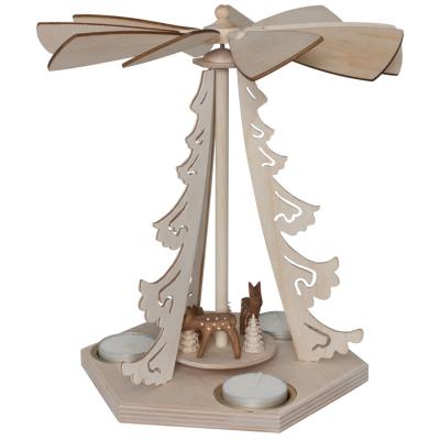 Weihnachtspyramide, für 3 Kerzen, Rehe