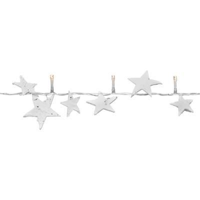 Best Season LED-Minilichterkette mit 16 warmweißen LEDs weiße Holzsterne Birkenop batteriebetrieben