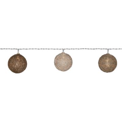 Best Season LED-Minilichterkette mit Wollfäden umwickelte Kugeln 10 warmweißen LEDs