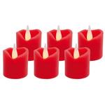 Hellum LED-Echtwachskerzen-Set 6er-Set rot