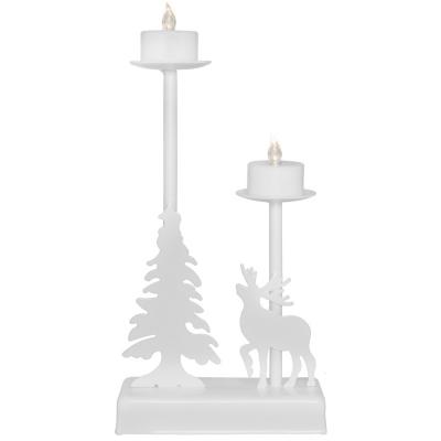 Weihnachtsleuchter, 2 warmweiße LEDs, WALDER weiß