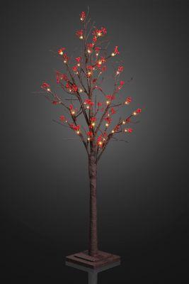LED-Baum mit roten Beeren 50cm 24 BS warmweiß/braun innen
