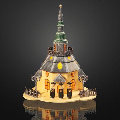 Hellum LED-Kirche Holz mit Sängern 5 BS warmweiß/bunt