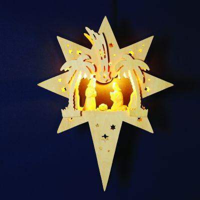 Hellum Fensterlicht Stern m. Krippenfiguren natur innen