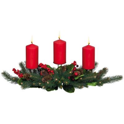 geschmücktes Adventsgesteck für 3 Kerzen