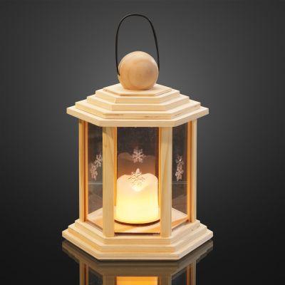 Hellum Holzlaterne natur mit LED-Echtwachskerze innen