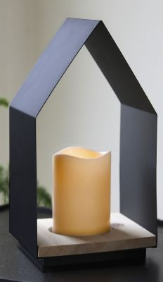 STAR Trading LED-Leuchtkerze im Haus (Lantern) 30cm Holz/Metall, Box