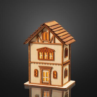 Hellum LED-Fachwerkhaus Holz 4 BS warmweiß/natur innen