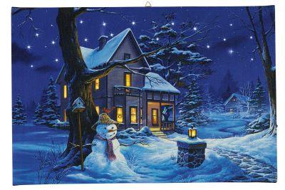 LED-Bild Fiberoptik Winterliches Haus warmweiß+weiß innen