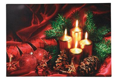 LED-Bild rechteckig 4 Kerzen 4 BS warmweiß innen