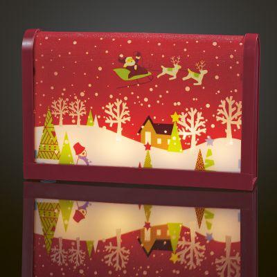 Hellum LED-Bild Tisch Weihnachtsmann m. Schlitten rot 4 BS warmw.