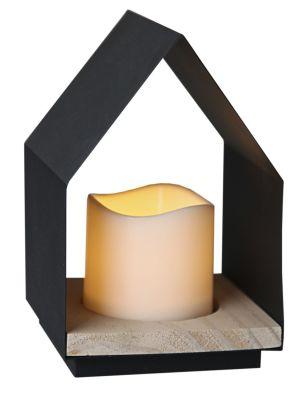 STAR Trading LED-Leuchtkerze im Haus (Lantern) 18cm Holz/Metall, Box