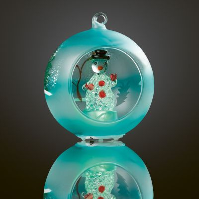 LED-Glaskugel Schneemann 1 BS RGB