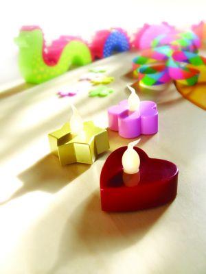 LED-Teelichter Blume rosa B3