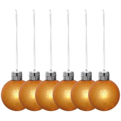LED-Weihnachtsbaumkugeln, 6er-Set, je 1 warmweiße LED, batteriebetrieben