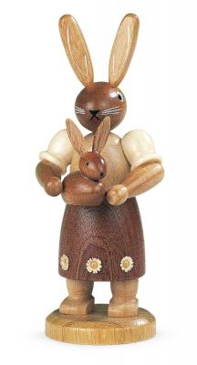 Müller-Kleinkunst aus dem Erzgebirge® seit 1899 Hasenmutter mit Kind, natur, klein, 11cm