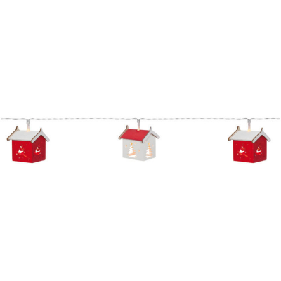 Best Season LED-Minilichterkette HOUSES Holzhäuschen mit 10 warmweißen LEDs batteriebetrieben