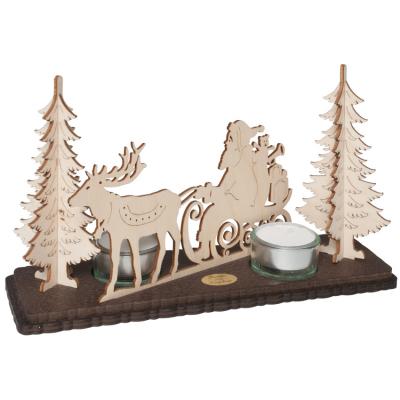 Teelichthalter, für 2 Kerzen, Weihnachtsmann mit Schlitten im Wald