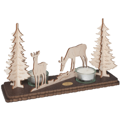 Teelichthalter, für 2 Kerzen, Tiere im Wald