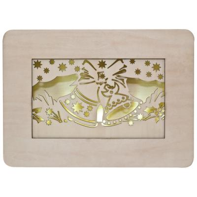 LED-Wandbild, Holz natur, Motiv Glocken