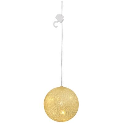 LED-Kugel,weiß-goldene Fäden 5,  Ø 10 cm