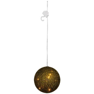 LED-Kugel, gold-schwarze Fäden, Ø 10 cm