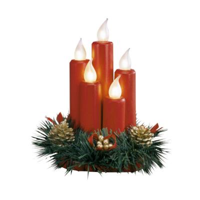 Tischdekoration, rot, Kerzen rot