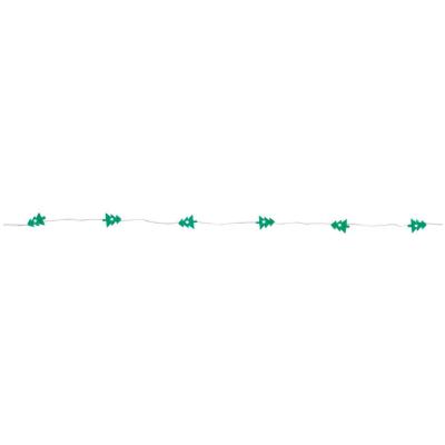 LED-Minilichterkette grüne Tannenbäumchen mit 12 LEDs batteriebetrieben