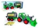 Farmer Technic Traktor + Frontschaufel+Fassanhänger (im Schaukarton)