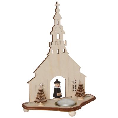 Teelichthalter, Seiffener Kirche Holz
