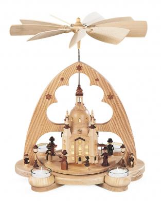 Müller-Kleinkunst aus dem Erzgebirge® seit 1899 Bogenpyramide Frauenkirche, natur