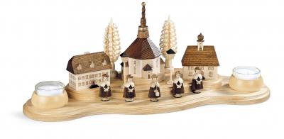 Müller-Kleinkunst aus dem Erzgebirge® seit 1899 Kerzenhalter Seiffener Dorf, groß