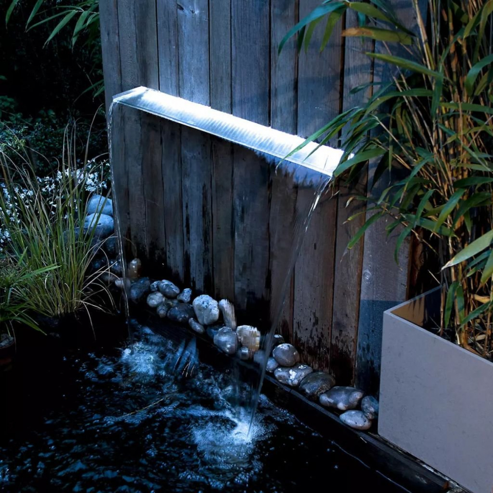 Ubbink Wasserfall Niagara Edelstahl mit LED Beleuchtung 60