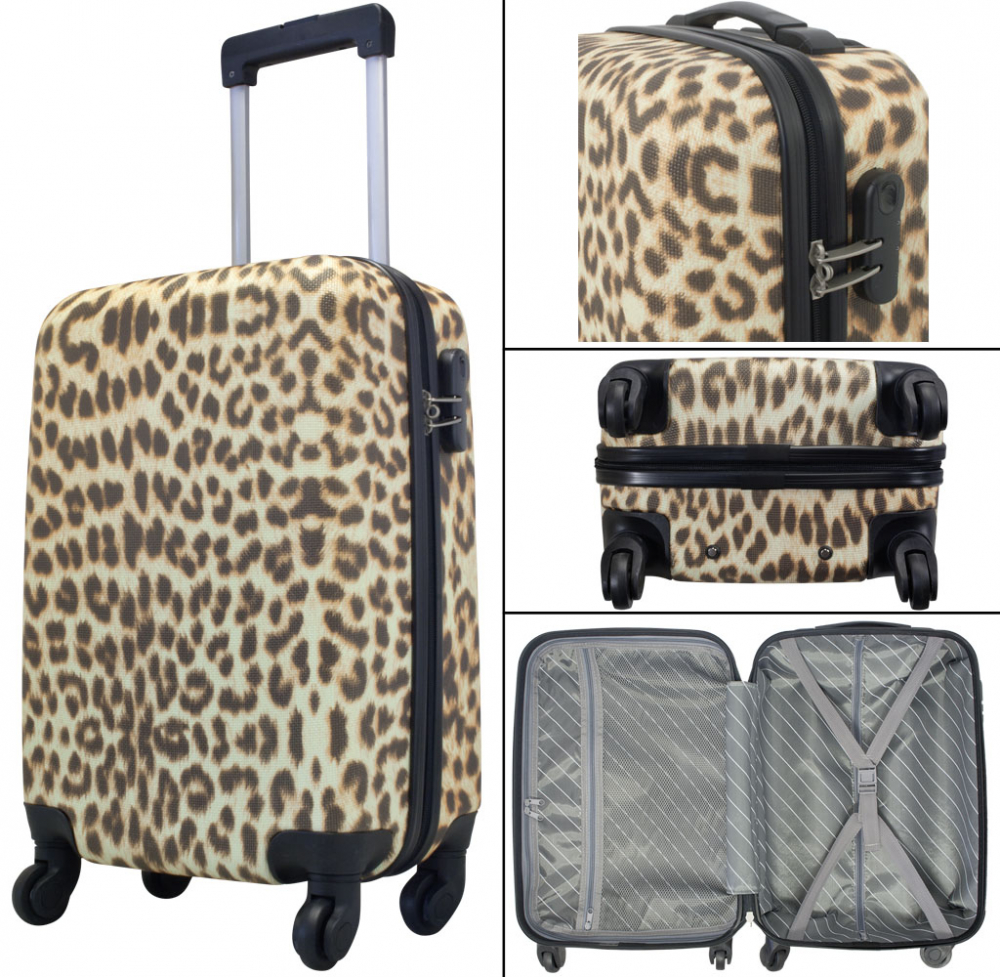 kofferset 3 tlg trolleyset reisekoffer abs hartschale leopard ebay. Black Bedroom Furniture Sets. Home Design Ideas