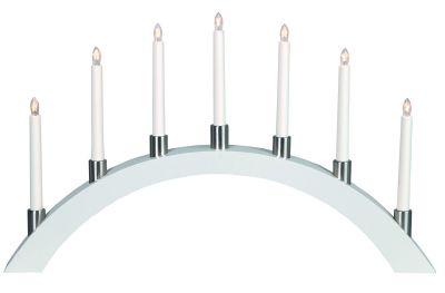 LED-Leuchter Holz Tall Bow weiß 7 BS