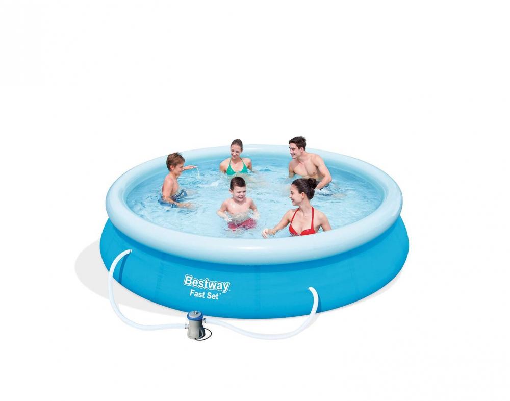bestway fast set pool set 366x76 cm ebay. Black Bedroom Furniture Sets. Home Design Ideas