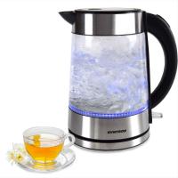 Syntrox 1,7 Liter Edelstahl schnurlos Glas Wasserkocher Lago mit blauem LED Licht 360