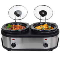 Syntrox Edelstahl Slow Cooker 2 x 1,5 Liter