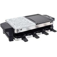 Syntrox Edelstahl Raclette für 8 Personen mit 3 Platten Heißem Stein und Grill Bern