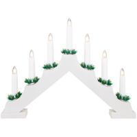 RiBa-Living Weihnachtsleuchter 7 warmweiße LEDs Holz weiß batteriebetrieben