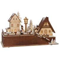 Weihnachtsleuchter, Winterdorf mit spielenden Kindern, 5 warmweiße LEDs