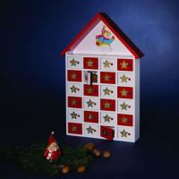 Hellum Adventskalender aus Holz rot/weiss