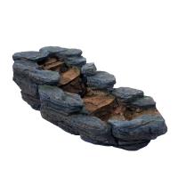 Ubbink CAZORLA Wasserfallelement, Bogen links, Polyresin, Pumpe 900l/h, transparenter Schlauch (Ø13 mm x 3 m), 3x(1x8) LEDs weiß, Farbe naturgetreue Baumstammnachbildung - H29x74x34 cm