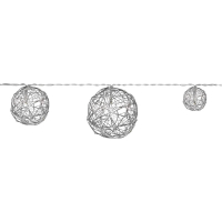 LED-Girlande Drahtbälle silber, mit Timer, Batteriebetrieb