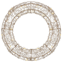 Drahtkranz Rosagold, 30 warmweiße LEDs, Ø 380 mm, batteriebetrieben
