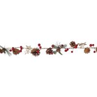 LED-Minilichterkette, Naturband Sterne, Zapfen, Beeren, Blätter
