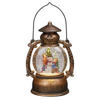 Hellum LED-Wasser-Kugellaterne mit Schneemann und Baum, bronze