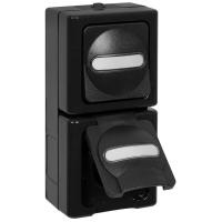 Kopp Kombination Wechsel-Schalter Steckdose AP/FR
