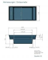 Ubbink QUADRA C2 - Fertigteich - HDPE,  Fassungsvermögen 1500 l